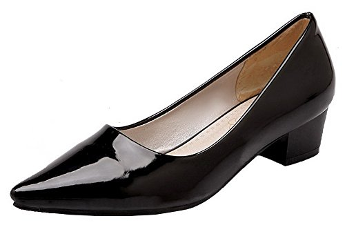 Schuhe Odomolor Pull Pumps Heels Lackleder Damen Low Schwarz Solide On CCAUw4qO