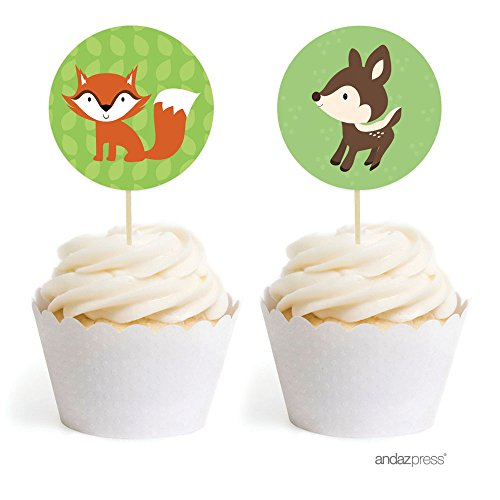 Cup Flat Woodland (Andaz Press Woodland Forest Baby Shower Collection, Cupcake Topper DIY Party Favors Kit, Babies are Sweet! Welcome Sweet Baby, 20-Pack)