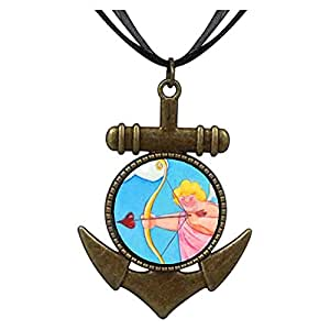 Chicforest Bronze Retro Style Cupid With Golden Bow Anchor Pendant
