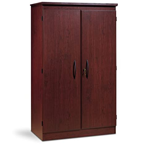 South Shore 7206970 Tall 2 Door Storage Cabinet With Adjustable Shelves Royal Cherry