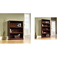 Sauder 3-Shelf Bookcase, Select Cherry Finish + Sauder 5-Shelf Bookcase, Select Cherry Finish_Bundle