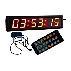 GOODRELIISH Large Wall Clock 2.3 High Character 6 Digits Red Color LED Digital Clock 12/24-Hour Display Real Time Clock Support Countdown/up Function in Hours Minutes Seconds