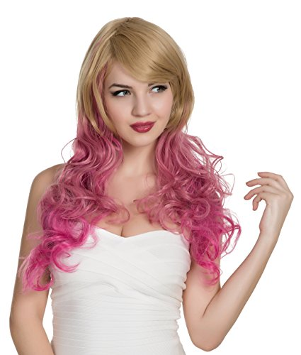 EDENKISS Women's Fashion Colorful Harajuku Lolita Style Long&Short Hair Replacement Curly&Straight Full Head Wigs With Simulation Scalp Cosplay Costume Party Hairpiece (LC5062 DS / Hot Pink Tan)