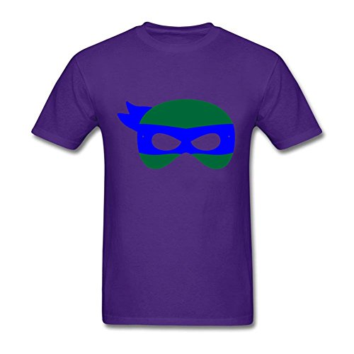 [Create Your Own Men's tmnt leo mask O-Neck Short Sleeve T-Shirt Purple S Costume] (Leo Johnson Costume)