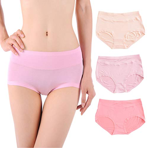 Ravom Underwear Women Panties Cotton Hipster Briefs 3 Pack Comfortable Mid Rise Invisible Soft Underwear Lingerie Breatlable US S/5- Asia - Hipster Briefs Cotton