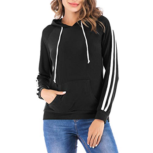 Eanklosco Basic Hoodie Womens Casual Long Sleeve Pullover Lightweight Drawstring Hooded Sweatshirt with Kangaroo Pocket (S, Black)