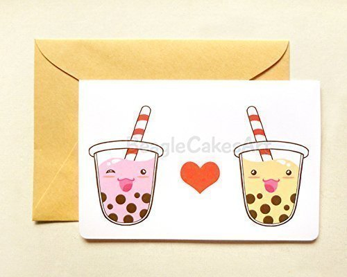 Amazon bubble tea greeting card 4x6 card on white cardstock bubble tea greeting card 4x6quot card on white cardstock i love you valentines m4hsunfo