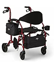 Medline Combination Rollator Transport Chair, Red