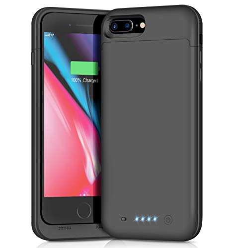 Battery Case for iPhone 7 Plus 8 Plus, Xooparc 7000mAh Protective Portable Charging Case Rechargeable Extended Battery Pack for Apple iPhone 7 Plus & 8 Plus (5.5') Backup Power Bank Cover (Black) (Best Power Bank For Iphone 7 Plus)