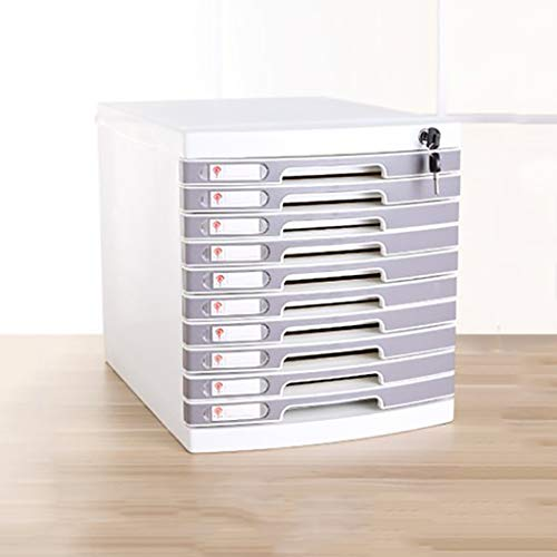 FPigSHS File cabinets Storage Box Information Office Furniture Archive Cabinet 10 Drawers Plastic Desktop with Lock Drawer Type High Capacity Can Store A4 Files (Color : Gray)