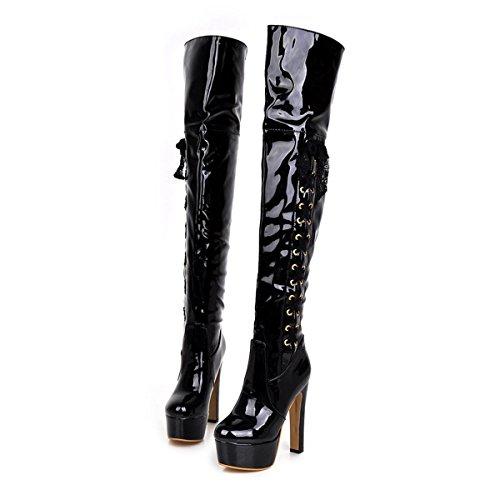 Frauen Starke Ferse Mode Lackleder über Knie Hohe Stiefel Winter Rot Stiefel (36, schwarz)