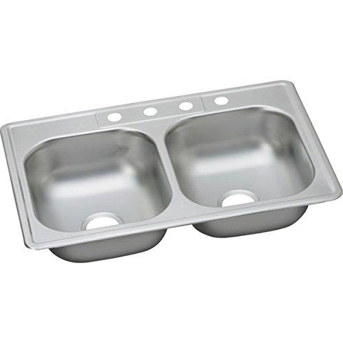 Elkay DDG233223 Dayton 20 Gauge Stainless Steel Double Bowl Top Mount Kitchen Sink, 33 x 22 x 7.0625'' by Elkay