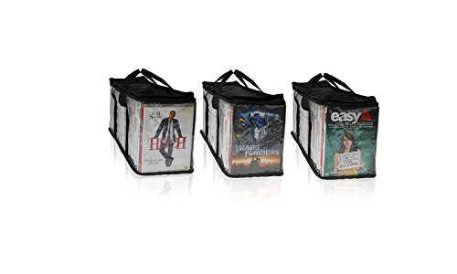 Dvd Storage Portable Organizer Bags Set of 3 Holds 100 Dvd's (Easy Open Quick Clip)