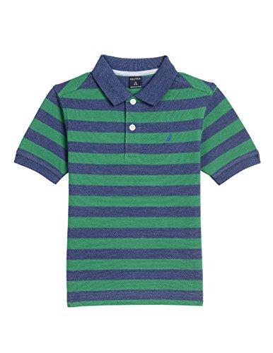 Green Striped Polo Shirt - Nautica Boys' Little Short Sleeve Striped Deck Polo Shirt, Verdant Green, 7X