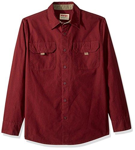 (Wrangler Authentics Men's Long Sleeve Canvas Shirt, Tawny Port, L)