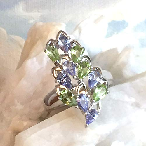 Sz 8, Authentic PERIDOT and TANZANITE Gemstones, 14k White GOLD Vermeil 925 Sterling Silver, Splendid Cluster Ring Jewelry. (Ring White Gold Jewelry Tanzanite)