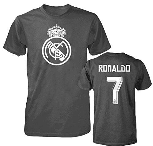 Smart Zone FC Real Madrid Shirt Cristiano Ronaldo Men's T- Shirt, Gray, L