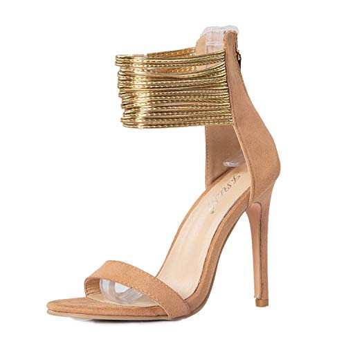 JSUN7 Women's Stiletto High Heels Sandal Beige Suede Open Toe Multi Ankle Strap Pumps with Back Zipper Wedding Dress Party Women Shoes.