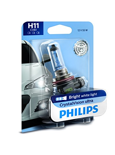 (Philips H11 CrystalVision Ultra Upgrade Bright White Headlight Bulb, 1 Pack)