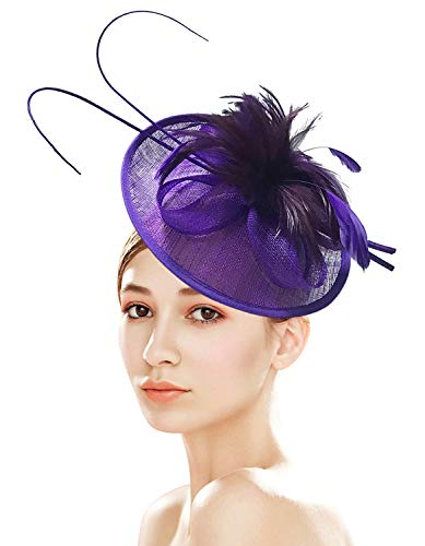(Z&X Sinamay Fascinator with Headbad Feather Floral Pillbox Hat for Wedding Party Purple)
