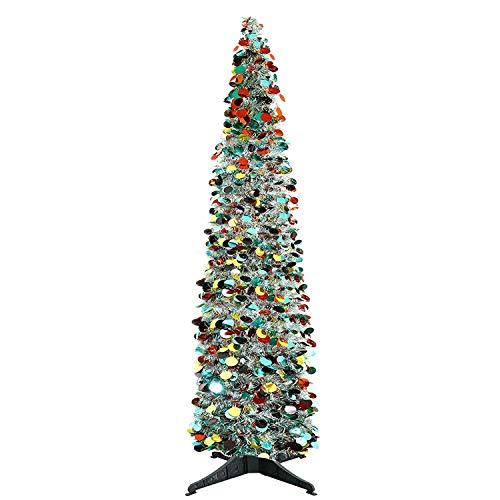 YuQi 5 Ft Pop up Artificial Trees Collapsible with Stand 70% Reusable for Christmas,Party,Next New Year,Wedding, Seasonal Home Décor & Party(Silver Point) ()
