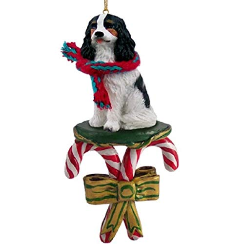 CAVALIER KING CHARLES Spaniel Dog Tri-Color CANDY CANE Christmas Ornament NEW DCC80B