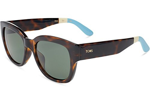 TOMS 10007248 Unisex Audrina Tortoise Frame Green Grey Lenses Cat-Eyes Sunglasses