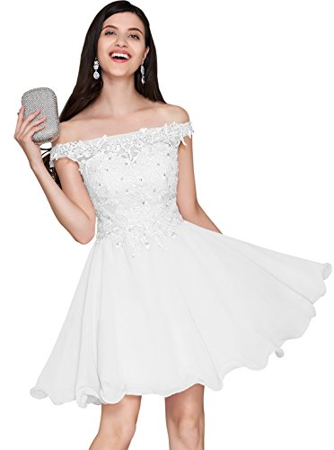 Women's Off Shoulder Party Dress Short Lace Bodice A Line Chiffon Formal Evening Gown White Size 10