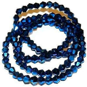 Steven_store CB334 Blue Metallic 4mm Faceted Bicone Cut Crystal Glass Beads 18