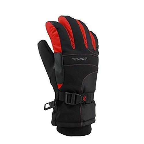 (Gordini Kid's Aquabloc III Junior Gloves, Black, Fire Red, XL)