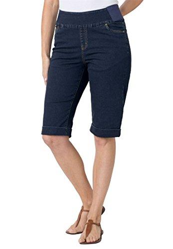 Women's Plus Size Smooth Waist Bermuda Jean Short Indigo Sanded,20 W