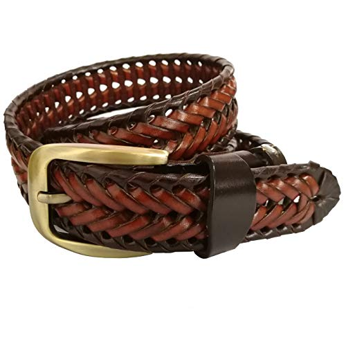 T-PERFECT LIFE Men's Trendy Retro Leather Braided Belt with Bronze Buckle (47 inch, brown&coffee)