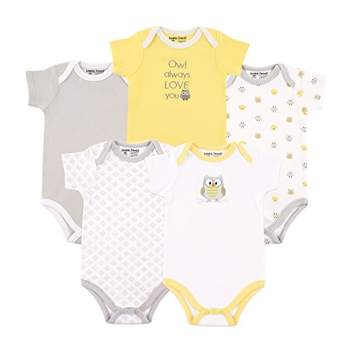 Luvable Friends Baby Infant 5 Pack Bodysuits, Yellow/Gray Owl, 0-3 Months