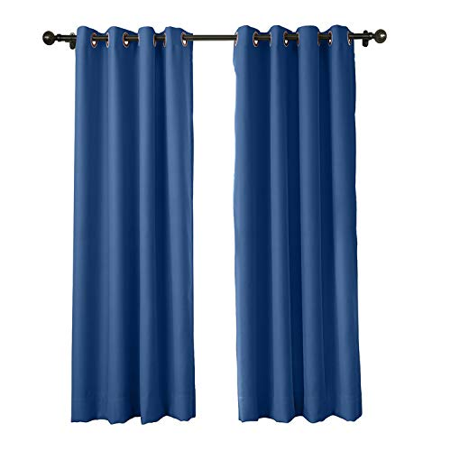 cololeaf Flame Fire Retardant Curtains Room Darkening Blackout Window Curtain for Home, Kitchen, Office, Hotel, School, Cinema and Hospital- Anti-Bronze Grommet - Blue 52W x 84L Inch (1 Panel) by cololeaf (Image #8)