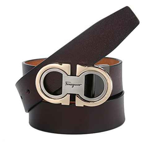 Men's Fashion Comfort Genuine Leather Belt Adjustable Buckle, by Trim to Fit (RD-Brown-Gold, 27''-49'') by B&N