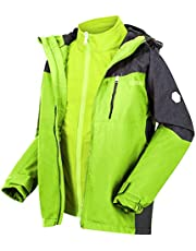 Regatta Kid's Hydrate V 3 In 1 Waterproof Breathable Highly Reflective Taped Seams Mesh Lined Jacket, ElectricLime/Ash, 5-6