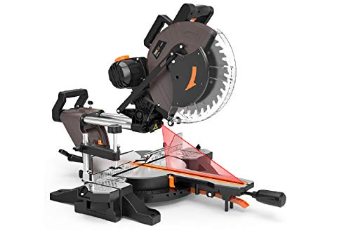 TACKLIFE Sliding Miter Saw, 12inch 15Amp Double-Bevel Compound Miter Saw with Laser, Adjustable Cutting Angle, Extensible Table, 3800rpm, Clamping Device,10ft/3Meters Cable, 40T Blade - PMS03A