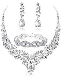 Crystal Bridal Jewelry Set for Women Rhinestone Necklace Earrings Bracelet  Wedding Bridesmaid a79e8f47b184