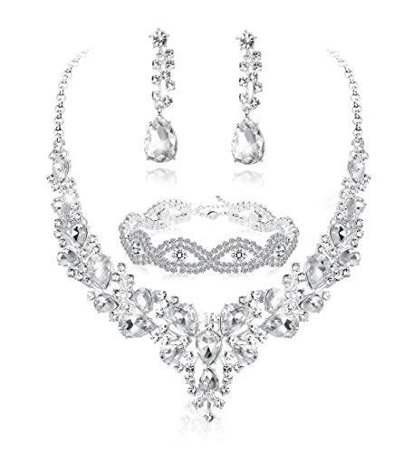 Fiasaso 3 PCS Crystal Bridal Jewelry Set for Women Rhinestone Necklace Earrings Bracelet Wedding Bridesmaid ()
