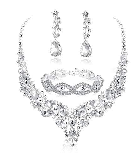 Fiasaso 3 PCS Crystal Bridal Jewelry Set for Women Rhinestone Necklace Earrings Bracelet Wedding Bridesmaid
