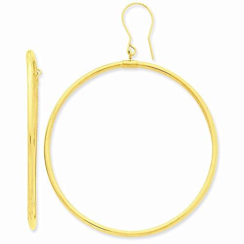 14k Yellow Gold Tube Hoop Dangle Earrings