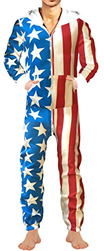 SkylineWears Men's Fashion Onesie Hooded Jumpsuit One Piece Non Footed Pajamas Bodysuit Playsuit XXL Us Flag - Piece Suits For Men One