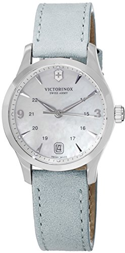 Victorinox Alliance Small Mother of Pearl Dial Leather Strap Ladies Watch - Blue Swiss Watch Dial Army
