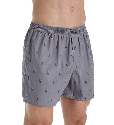 Marine Boxer Shorts (Polo Ralph Lauren Printed Polo Player 100% Cotton Boxer (R382HR) XL/Marine Grey/Wine)