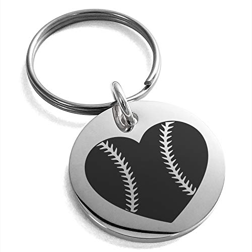 Tioneer Stainless Steel Love Baseball Heart Engraved Small Medallion Circle Charm Keychain Keyring by Tioneer (Image #1)
