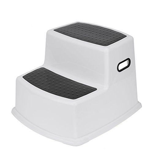 Store Toddler Step Stool (Acko Dual Height Step Stool Design with Anti-slip Surface for Toddler Potty Training kid Exercising Multi-Use in Bathroom and Kitchen Hold up to 330lbs,Black)
