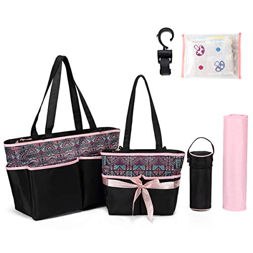 Diaper Tote Bag Diaper Bag - Nappy Bag Baby Diaper Totes for Mom Grils Unisex Maternity Nappy Bag Organizer Large Capacity Canva Tote Bag Beach Bag (Light Pink)