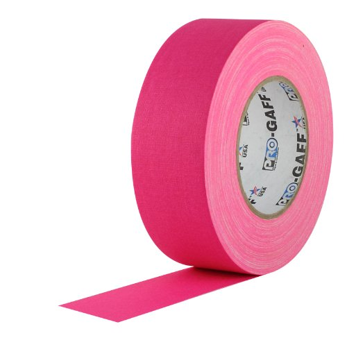 2 Width ProTapes Pro Gaff Premium Matte Cloth Gaffers Tape With Rubber Adhesive, 50 yds Length x, Fluorescent Pink (Pack of 1)