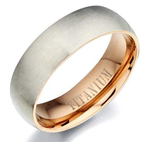 Gemini Matt & Polish Plain 2 Tone Rose Gold Titanium Wedding Ring 7mm US Size 10.5 Valentine's Day - Matt Plain