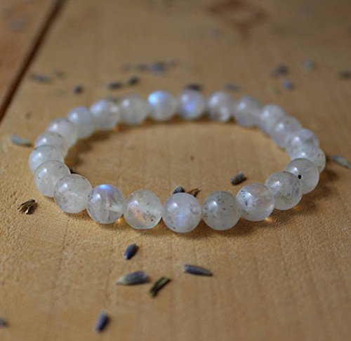 JP_Beads Moonstone Bracelet Genuine Rainbow Moonstone Meditation Bracelet Yoga Bracelet Beaded Gemstone Stretch Bracelet Goddess Stone Feminine Power ()